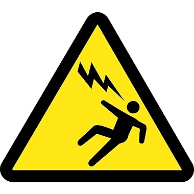Label, Graphic For Voltage Discharge Hazard, 4In Dia, Adhesive Vinyl