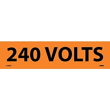 Voltage Marker, Adhesive Vinyl, 240 Volts, 2 1/4X9