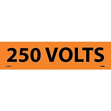 Voltage Marker, Adhesive Vinyl, 250 Volts, 2 1/4X9