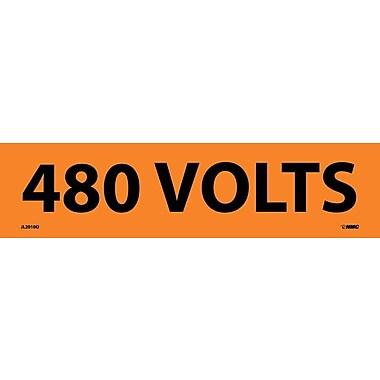 Voltage Marker, Adhesive Vinyl, 480 Volts, 2 1/4X9