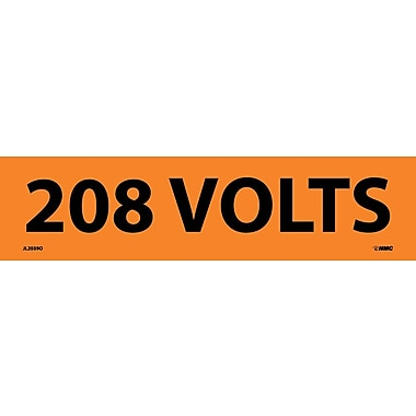 Electrical Markers, 208 Volts, 2.25X9, Adhesive Vinyl, 25/Pk