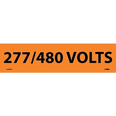 Electrical Markers, 277/480 Volts, 2.25X9, Adhesive Vinyl, 25/Pk