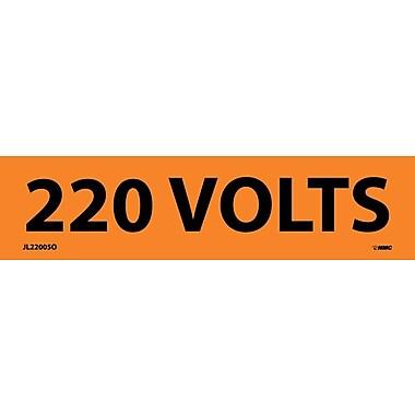 Voltage Marker, Adhesive Vinyl, 220 Volts, 1-1/8