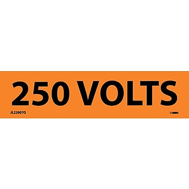 Voltage Marker, Adhesive Vinyl, 250 Volts, 1-1/8