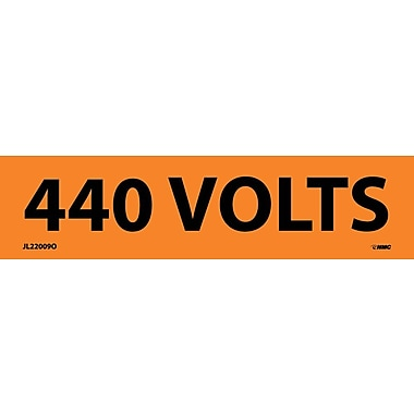 Voltage Marker, Adhesive Vinyl, 440 Volts, 1 1/8X4 1/2