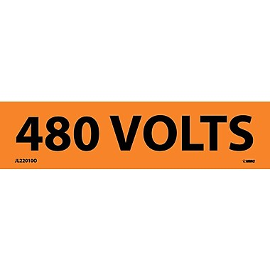 Voltage Marker, Adhesive Vinyl, 480 Volts, 1-1/8