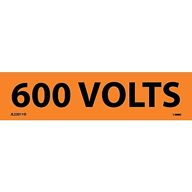 Voltage Marker, Adhesive Vinyl, 600 Volts, 1-1/8