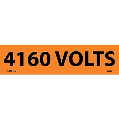 Voltage Marker, Adhesive Vinyl, 4160 Volts, 1 1/8X4 1/2