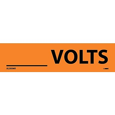 Electrical Markers, ____Volts, 1.125X4.5, Adhesive Vinyl, 25/Pk
