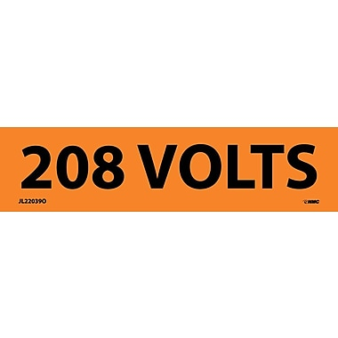 Electrical Markers, 208 Volts, 1.125X4.5, Adhesive Vinyl, 25/Pk