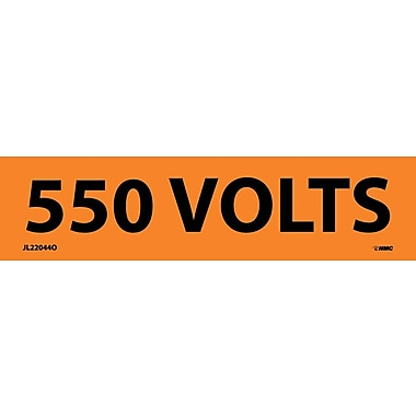 Electrical Markers, 550 Volts, 1.25X4.5, Adhesive Vinyl, 25/Pk
