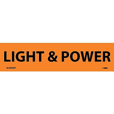 Electrical Markers, Light & Power, 1.125X4.5, Adhesive Vinyl, 25/Pk