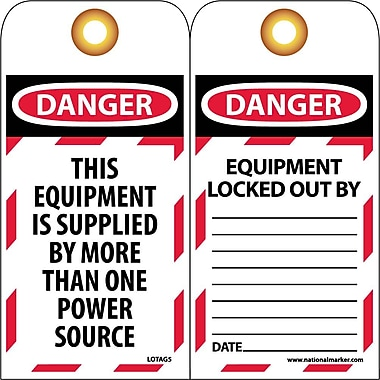 Lockout Lockout Tags, Lockout, Danger This Equipment Is Supplied. . ., 6X3, Unrippable Vinyl