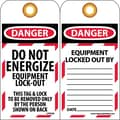Lockout Lockout Tags, Lockout, Danger Do Not Energize. . ., 6X3, Unrippable Vinyl