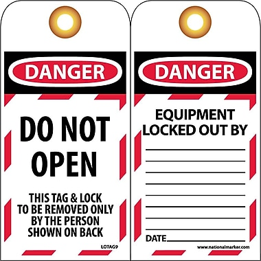 Lockout Tags, Lockout, Danger Do Not Open..., 6