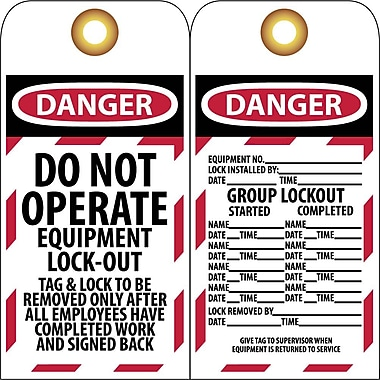 Lockout Tags, Lockout, Danger Do Not Operate Equipment Lock-Out..., 6
