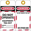 Lockout Lockout Tags, Lockout, Danger Do Not Operate Equipment Tag Out. . ., 6X3, Unrippable Vinyl