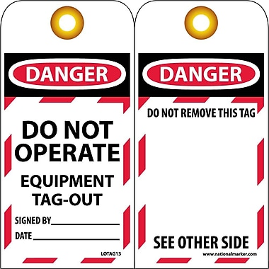 Lockout Tags, Lockout, Danger Do Not Operate Equipment Tag Out..., 6