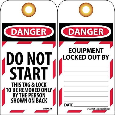 Lockout Lockout Tags, Lockout, Danger Do Not Start. . ., 6X3, Unrippable Vinyl