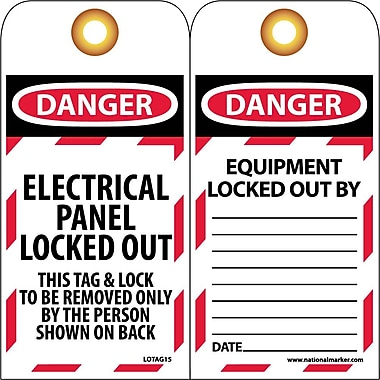 Lockout Tags, Lockout, Danger Electrical Panel Locked Out..., 6