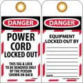 Lockout Lockout Tags, Lockout, Danger Power Cord Locked Out . . ., 6X3, Unrippable Vinyl