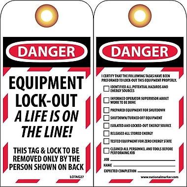 Lockout Tags, Lockout, Danger Equipment Lock-Out..., 6