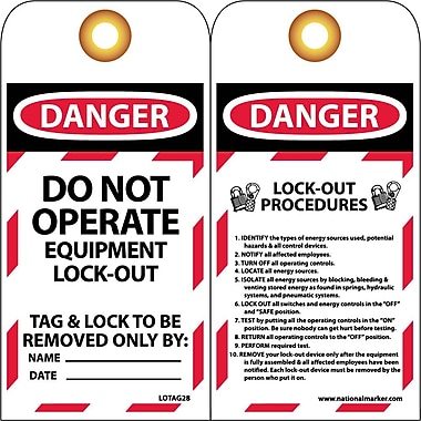 Lockout Tags, Lockout, Do Not Operate Equipment Locked Out 6X3, Unrippable Vinyl, 25/Pack
