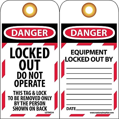 Lockout Lockout Tags, Lockout, Danger, Locked Out Do Not Operate, 6X3, Unrippable Vinyl, 10 Pk