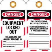 Tag, Danger, Equipment Locked Out, 6X3 1/4, Unrippable Vinyl, 25/Pk