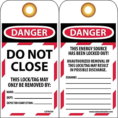 Lockout Lockout Tags, Do Not Close, 6X3, Unrippable Vinyl 10/Pack
