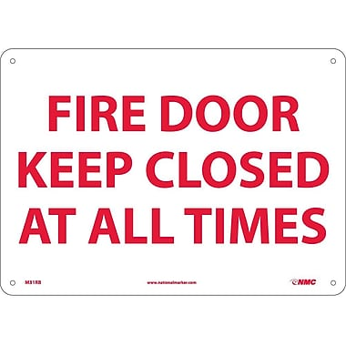 Fire Door Keep Closed At All Times, 10X14, Rigid Plastic