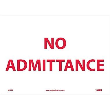 No Admittance, 10X14, Adhesive Vinyl