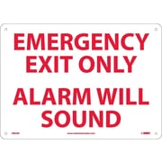 Emergency Exit Only Alarm Will Sound, 10X14, Rigid Plastic