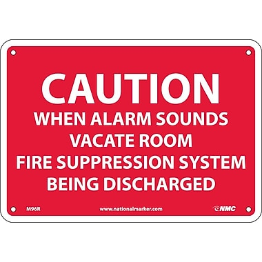 Caution When Alarm Sounds Vacate Room.., 7X10, Rigid Plastic