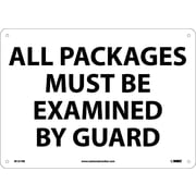 """All Packages Must Be Examined By Guard, 10"""" x 14"""", Rigid Plastic"""