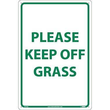 Please Keep Off Grass, Green On White, 18