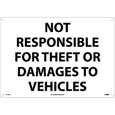Not Responsible For Theft Or Damage To Vehicles, 14X20, Rigid Plastic