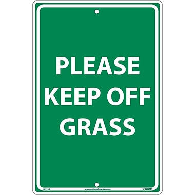 Please Keep Off Grass, White On Green, 18
