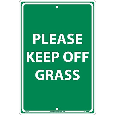 Please Keep Off Grass, White On Green, 18X12, Rigid Plastic