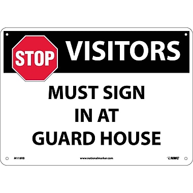 Stop Visitors Must Sign In At Guard House, Graphic, 10X14, Rigid Plastic