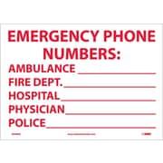 Emergency Phone Numbers Ambulance,Fire.., 10X14, Adhesive Vinyl