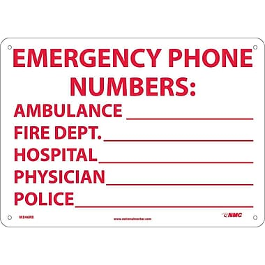 Emergency Phone Numbers Ambulance, Fire.., 10