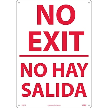 No Exit (Bilingual), 20X14, Rigid Plastic
