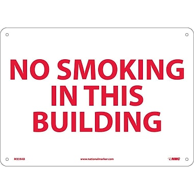 No Smoking In This Building, 10X14, .040 Aluminum