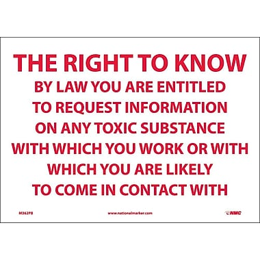 The Right To Know By Law You Are Entitled.., 10X14, Adhesive Vinyl