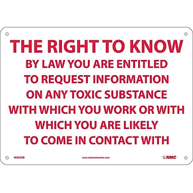 The Right To Know By Law You Are Entitled.., 10X14, Rigid Plastic