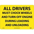 All Drivers Must Chock Wheels And Turn Off.., 10X14, Rigid Plastic