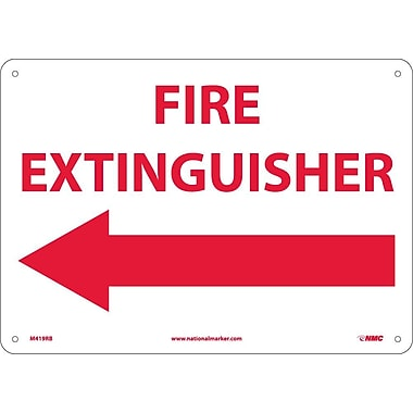 Fire Extinguisher (With Left Arrow), 10X14, Rigid Plastic