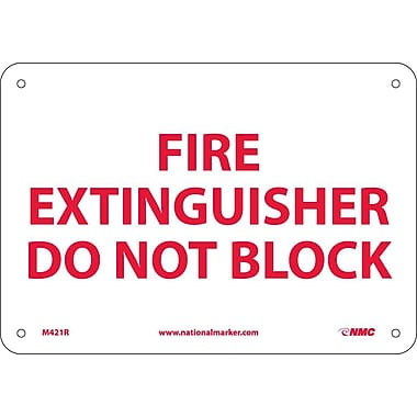 Fire Extinguisher Do Not Block, 7X10, Rigid Plastic