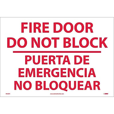 Fire Door Do Not Block Puerta De Emergencia ...(Bilingual), 14X20, Adhesive Vinyl